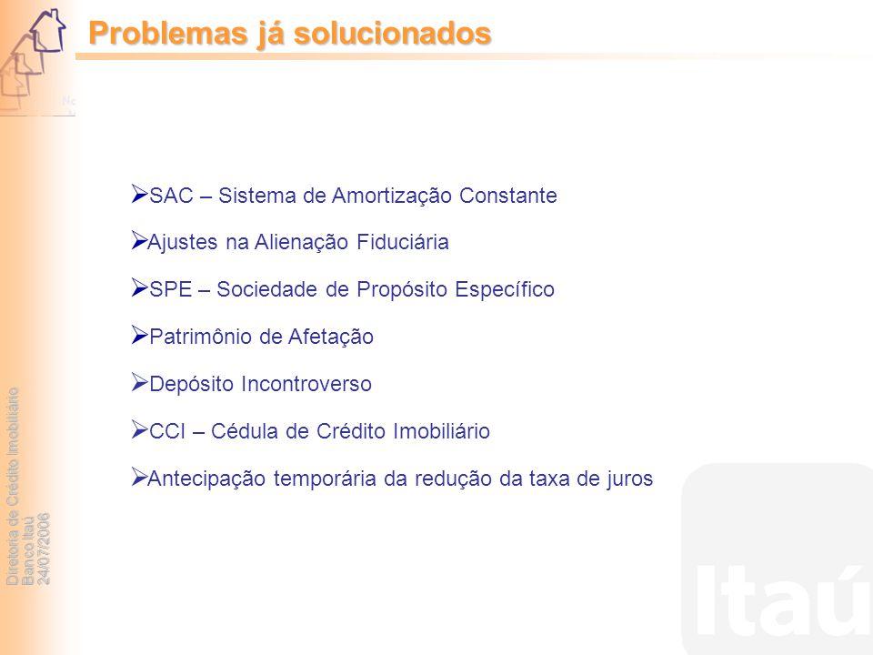 Diretoria de Crédito Imobiliário Banco Itaú 24/07/2006 SAC – Sistema de Amortização Constante Ajustes na Alienação Fiduciária SPE – Sociedade de Propó