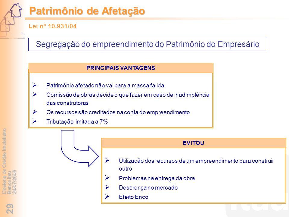 Diretoria de Crédito Imobiliário Banco Itaú 24/07/2006 29 Segregação do empreendimento do Patrimônio do Empresário Patrimônio de Afetação Patrimônio a