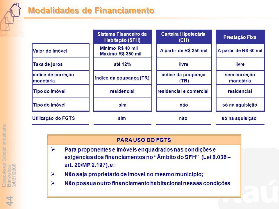 Diretoria de Crédito Imobiliário Banco Itaú 24/07/2006 44 Modalidades de Financiamento Para proponentes e imóveis enquadrados nas condições e exigênci