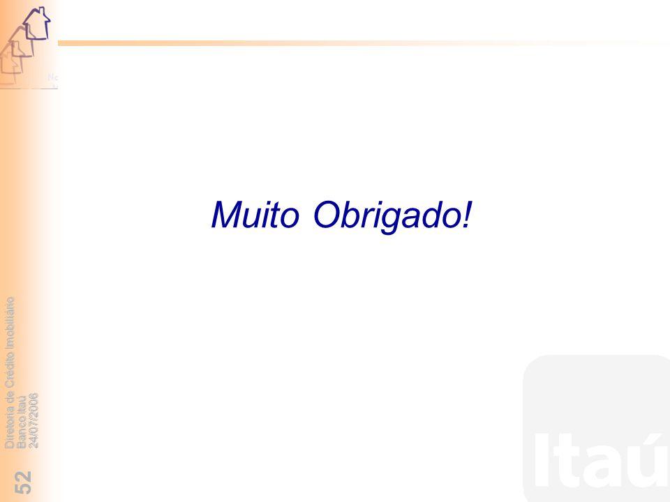 Diretoria de Crédito Imobiliário Banco Itaú 24/07/2006 52 Muito Obrigado!