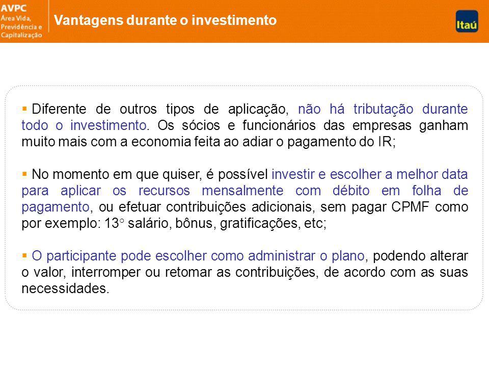 Diferente de outros tipos de aplicação, não há tributação durante todo o investimento.