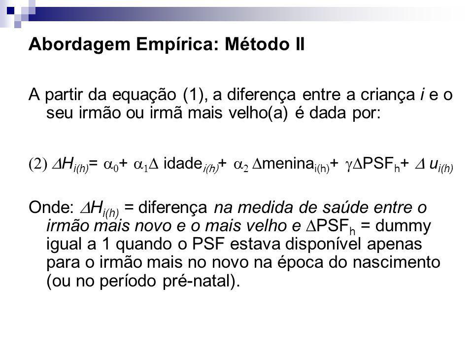 Abordagem Empírica: Método II A partir da equação (1), a diferença entre a criança i e o seu irmão ou irmã mais velho(a) é dada por: H i(h) = + idade