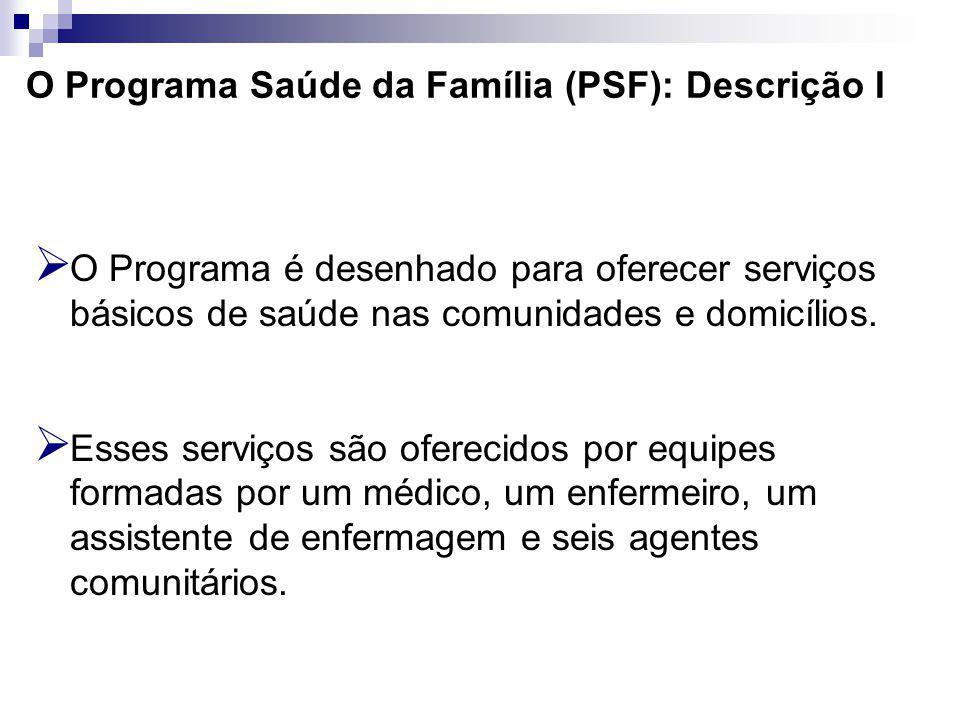 O Programa Saúde da Família (PSF): Descrição I O Programa é desenhado para oferecer serviços básicos de saúde nas comunidades e domicílios.