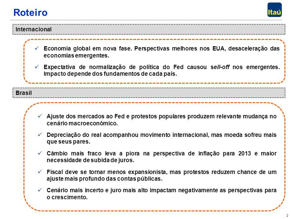 2 Roteiro Internacional Brasil Economia global em nova fase. Perspectivas melhores nos EUA, desaceleração das economias emergentes. Economia global em