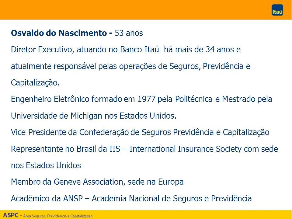 Osvaldo do Nascimento - 53 anos Diretor Executivo, atuando no Banco Itaú há mais de 34 anos e atualmente responsável pelas operações de Seguros, Previdência e Capitalização.