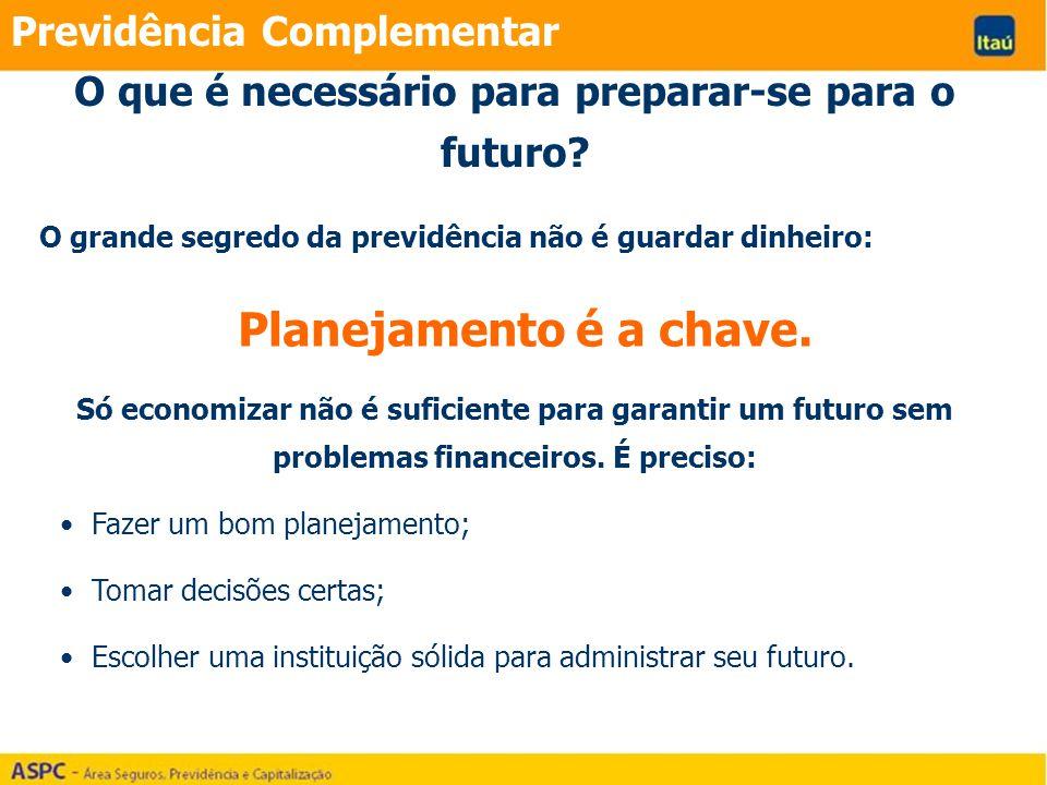 Previdência Complementar O grande segredo da previdência não é guardar dinheiro: Planejamento é a chave. Só economizar não é suficiente para garantir