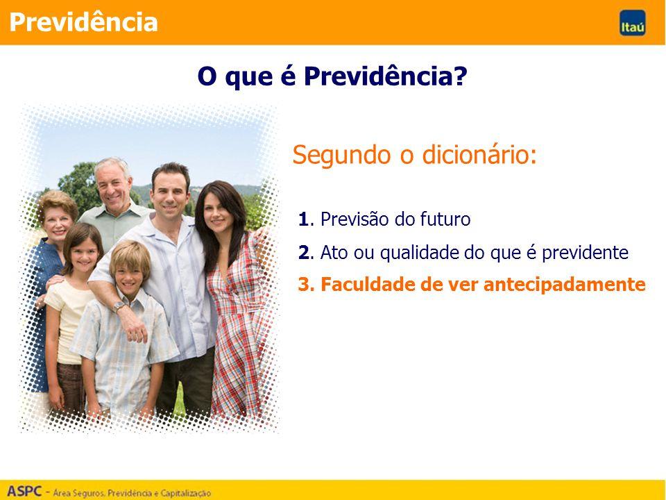 Segundo o dicionário: Previdência 1. Previsão do futuro 2. Ato ou qualidade do que é previdente 3. Faculdade de ver antecipadamente O que é Previdênci