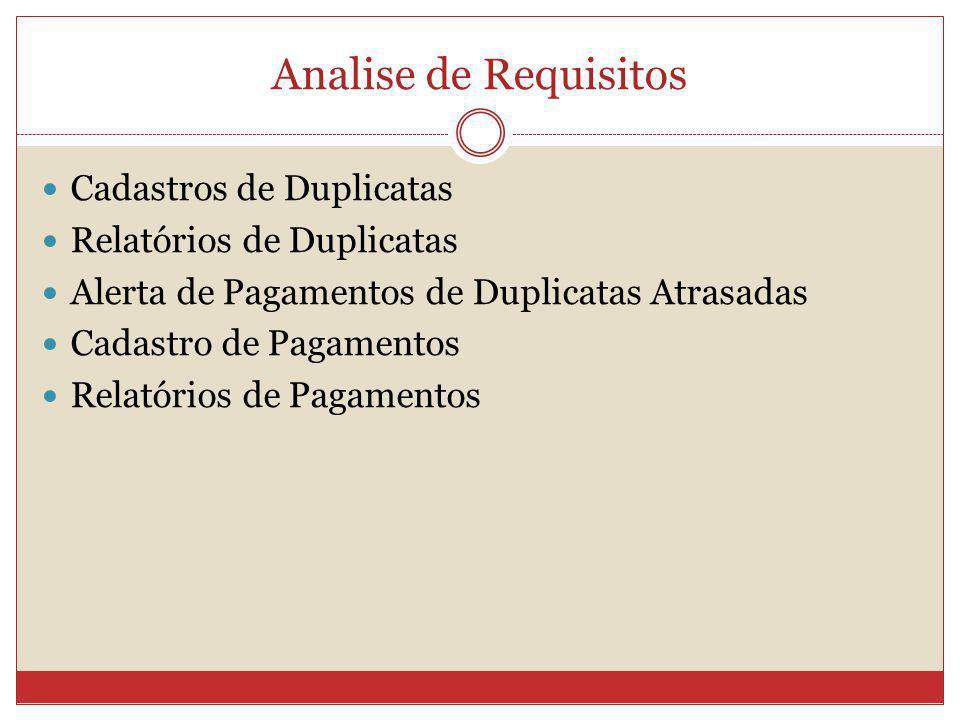 Analise de Requisitos Cadastros de Duplicatas Relatórios de Duplicatas Alerta de Pagamentos de Duplicatas Atrasadas Cadastro de Pagamentos Relatórios
