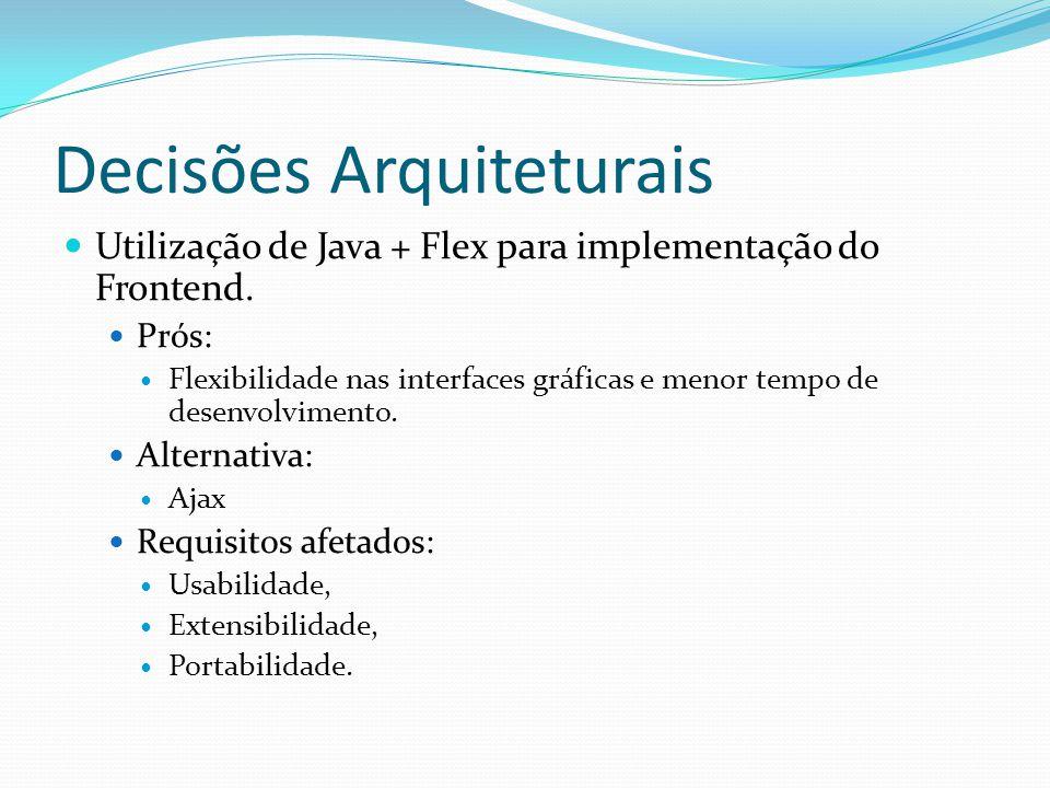 Decisões Arquiteturais Utilização de Java + Flex para implementação do Frontend. Prós: Flexibilidade nas interfaces gráficas e menor tempo de desenvol