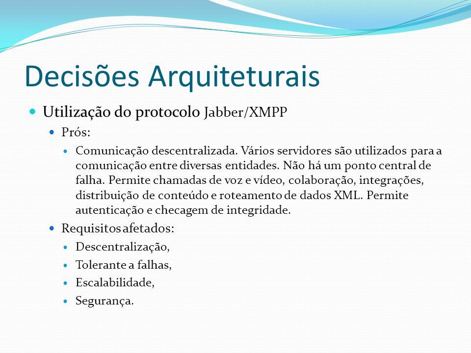 Decisões Arquiteturais Utilização do protocolo Jabber/XMPP Prós: Comunicação descentralizada. Vários servidores são utilizados para a comunicação entr
