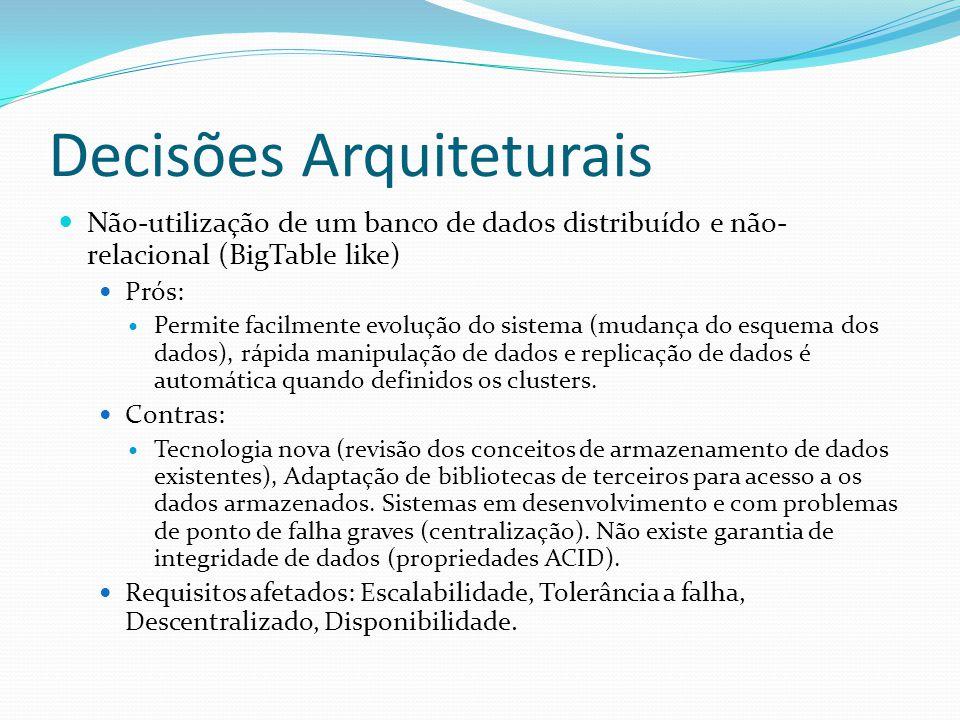 Decisões Arquiteturais Utilização de banco de dados relacional Prós: Garantia das propriedades ACID (Atomicity, Consistency, Isolation, Durability), rápido acesso e manipulação de dados, tecnologia madura e amplamente utilizada.
