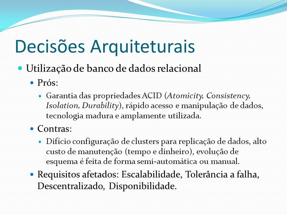 Decisões Arquiteturais Utilização de banco de dados relacional Prós: Garantia das propriedades ACID (Atomicity, Consistency, Isolation, Durability), r