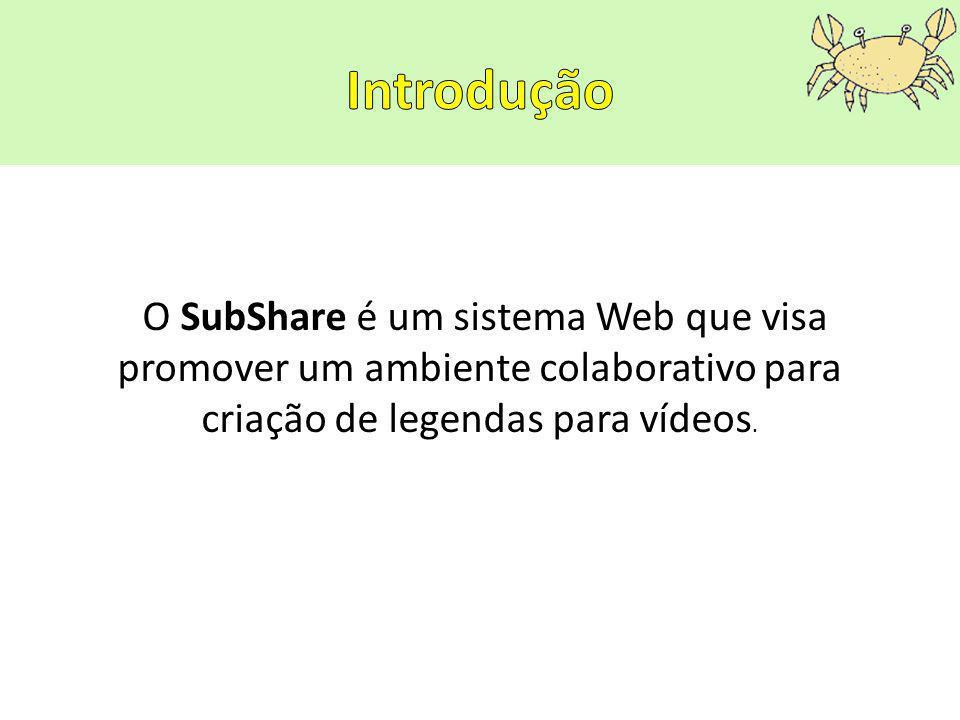 O SubShare é um sistema Web que visa promover um ambiente colaborativo para criação de legendas para vídeos.
