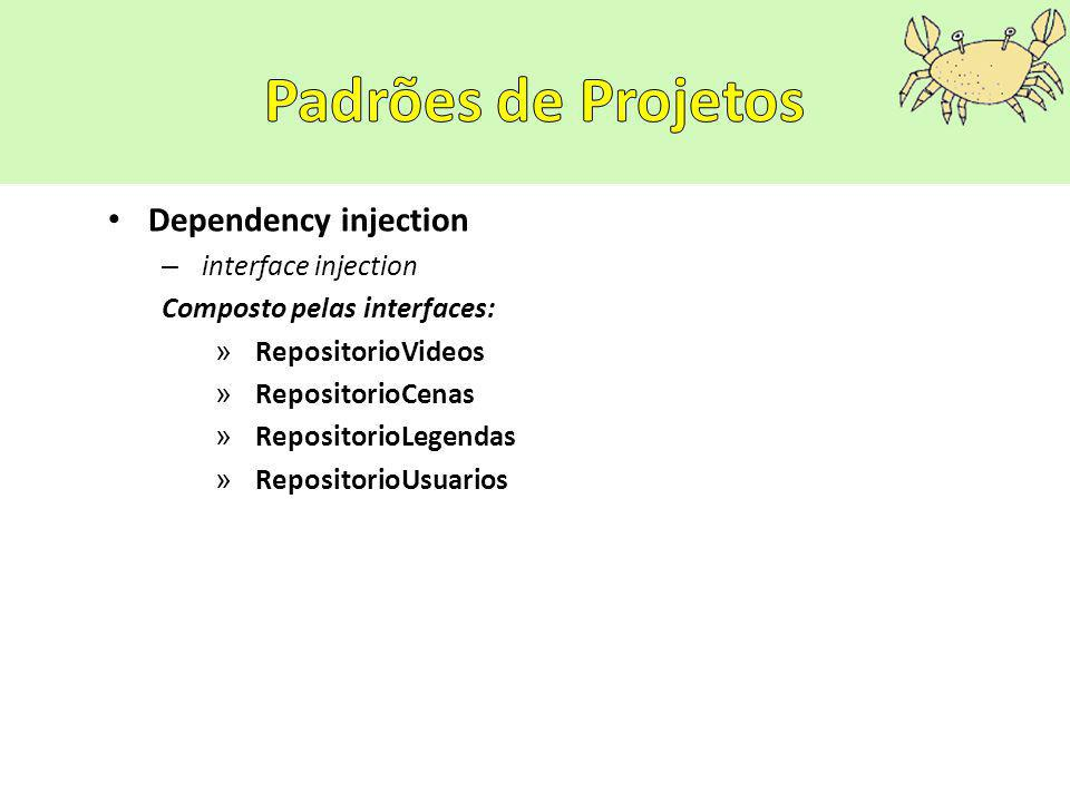 Dependency injection – interface injection Composto pelas interfaces: » RepositorioVideos » RepositorioCenas » RepositorioLegendas » RepositorioUsuarios