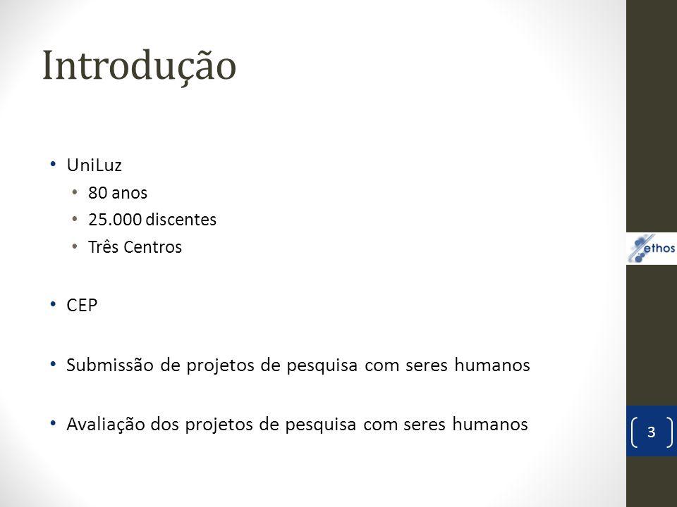 Introdução UniLuz 80 anos 25.000 discentes Três Centros CEP Submissão de projetos de pesquisa com seres humanos Avaliação dos projetos de pesquisa com seres humanos 3 Ethos