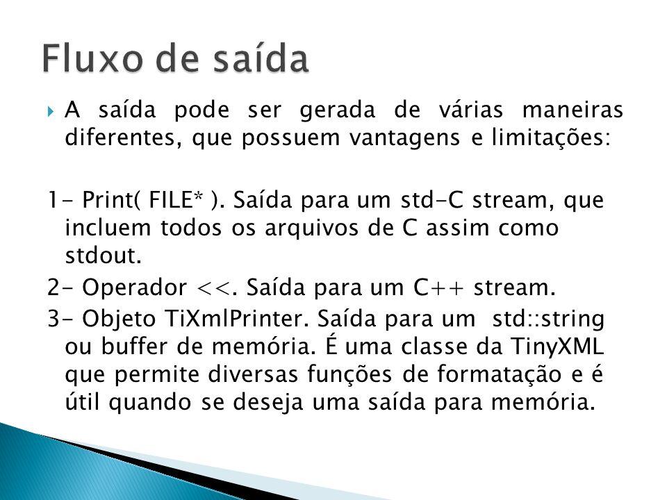 Caso TIXML_USE_STL esteja ativado, a biblioteca é compatível com os operadores de fluxo em C++ (>>, <<) além dos C(FILE*) streams.