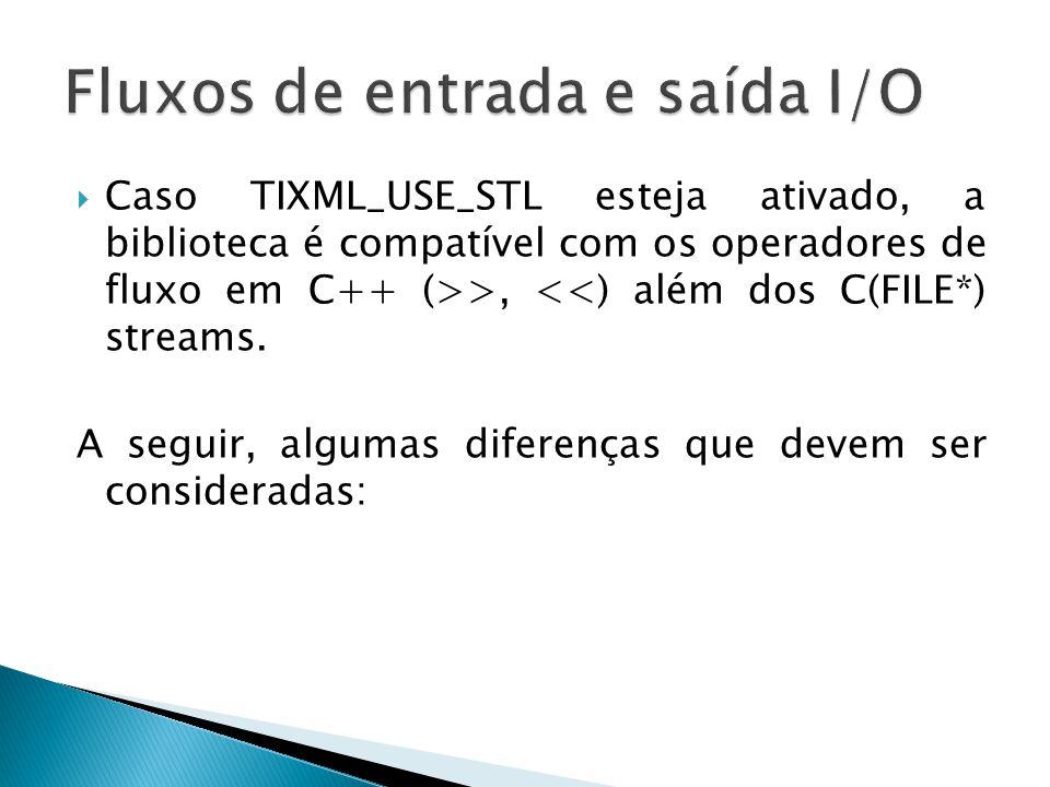Caso TIXML_USE_STL esteja ativado, a biblioteca é compatível com os operadores de fluxo em C++ (>>, <<) além dos C(FILE*) streams. A seguir, algumas d