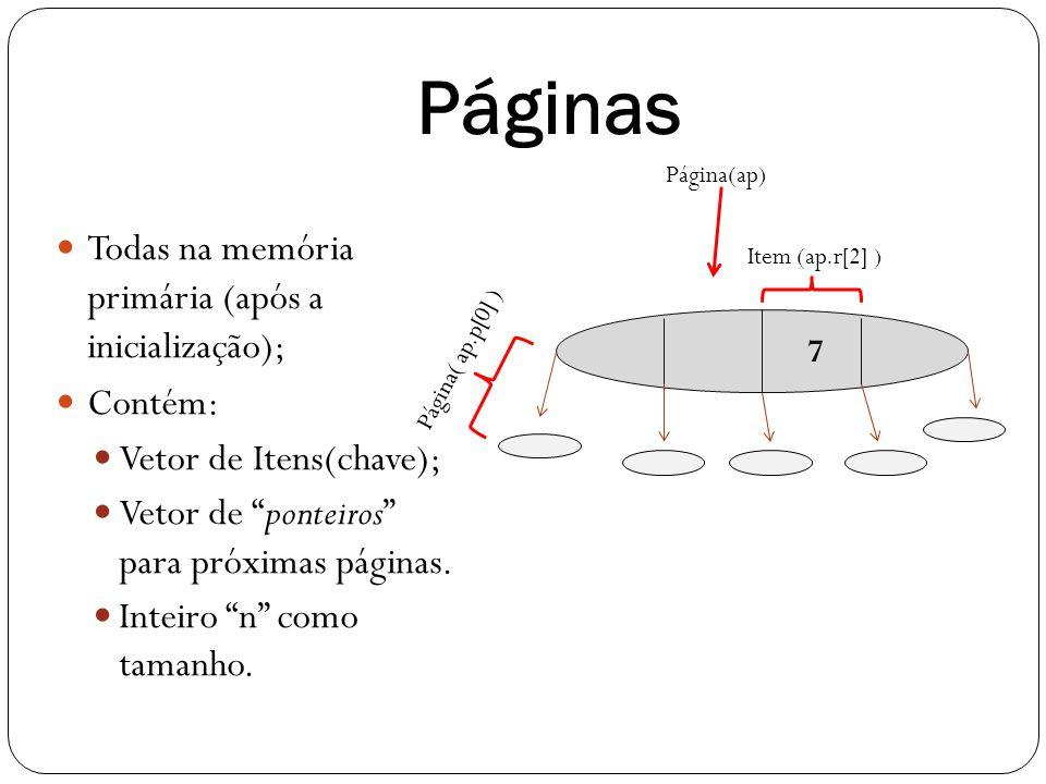 Páginas Todas na memória primária (após a inicialização); Contém: Vetor de Itens(chave); Vetor de ponteiros para próximas páginas. Inteiro n como tama