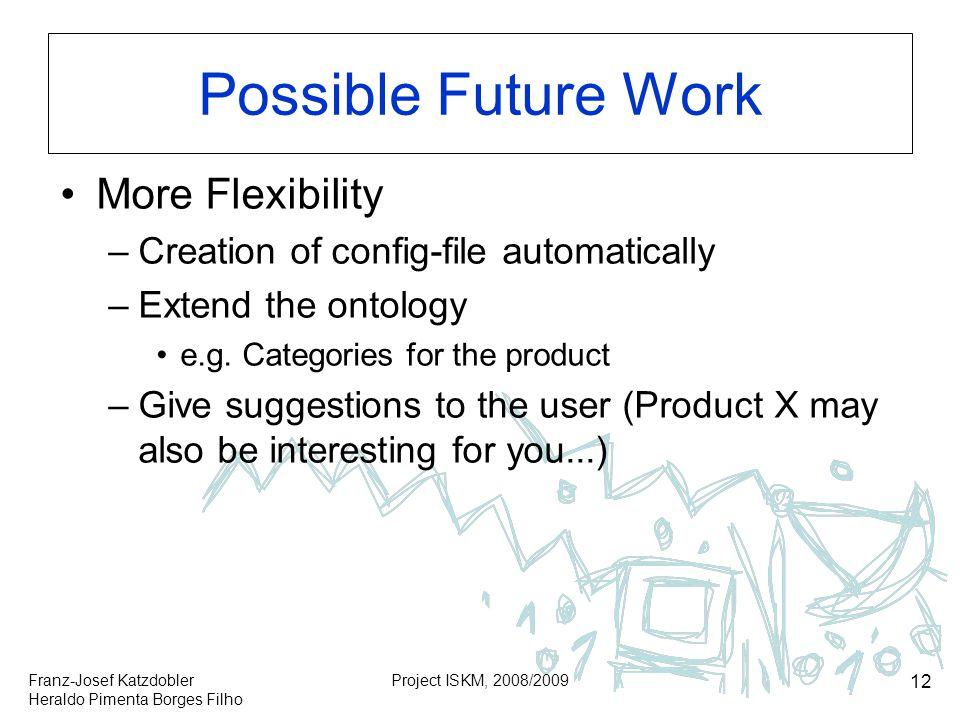 Franz-Josef Katzdobler Heraldo Pimenta Borges Filho Project ISKM, 2008/2009 12 Possible Future Work More Flexibility –Creation of config-file automati