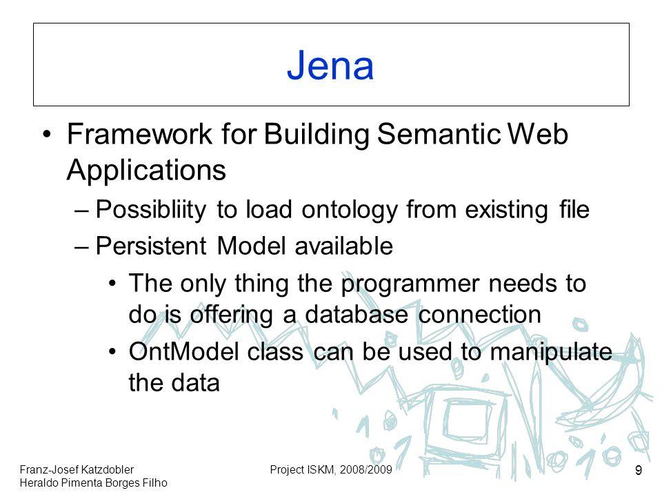 Franz-Josef Katzdobler Heraldo Pimenta Borges Filho Project ISKM, 2008/2009 9 Jena Framework for Building Semantic Web Applications –Possibliity to lo
