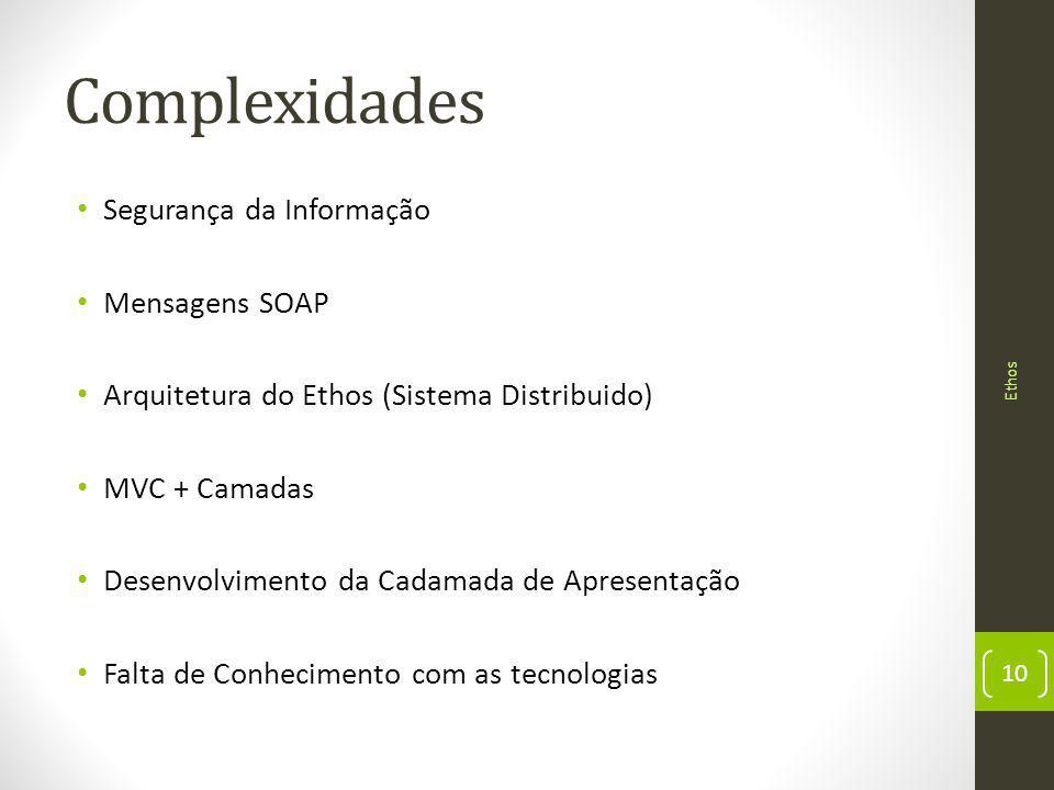 Complexidades Segurança da Informação Mensagens SOAP Arquitetura do Ethos (Sistema Distribuido) MVC + Camadas Desenvolvimento da Cadamada de Apresentação Falta de Conhecimento com as tecnologias 10 Ethos