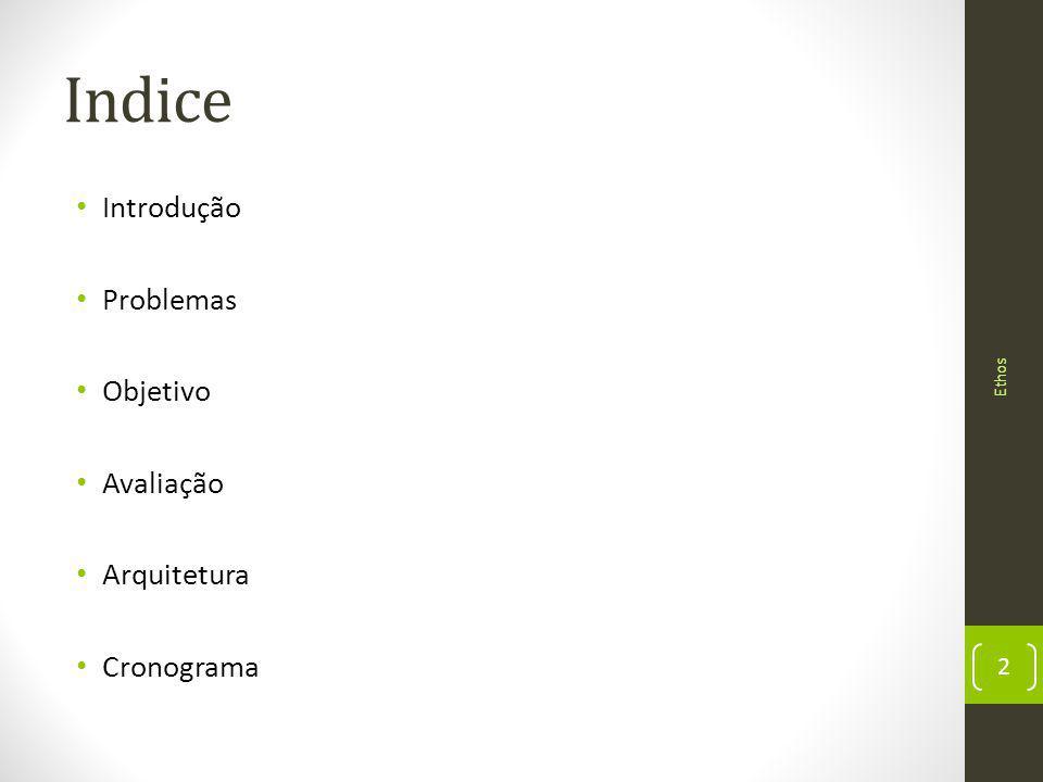 Indice Introdução Problemas Objetivo Avaliação Arquitetura Cronograma 2 Ethos
