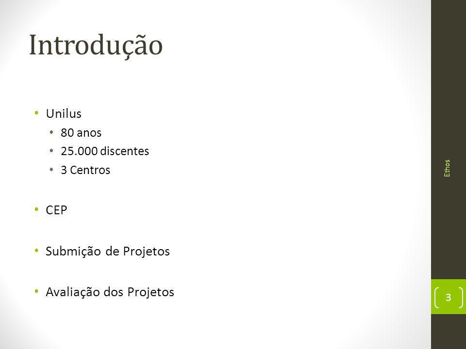 Introdução Unilus 80 anos 25.000 discentes 3 Centros CEP Submição de Projetos Avaliação dos Projetos 3 Ethos