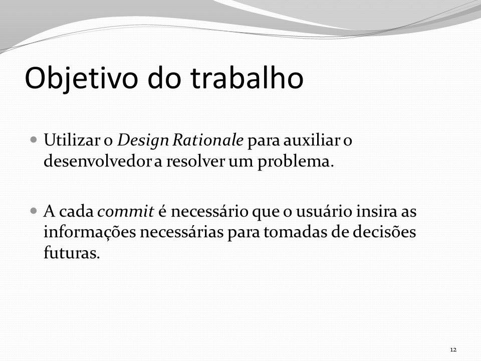 Objetivo do trabalho Utilizar o Design Rationale para auxiliar o desenvolvedor a resolver um problema.