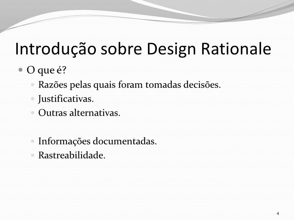 Introdução sobre Design Rationale O que é.Razões pelas quais foram tomadas decisões.