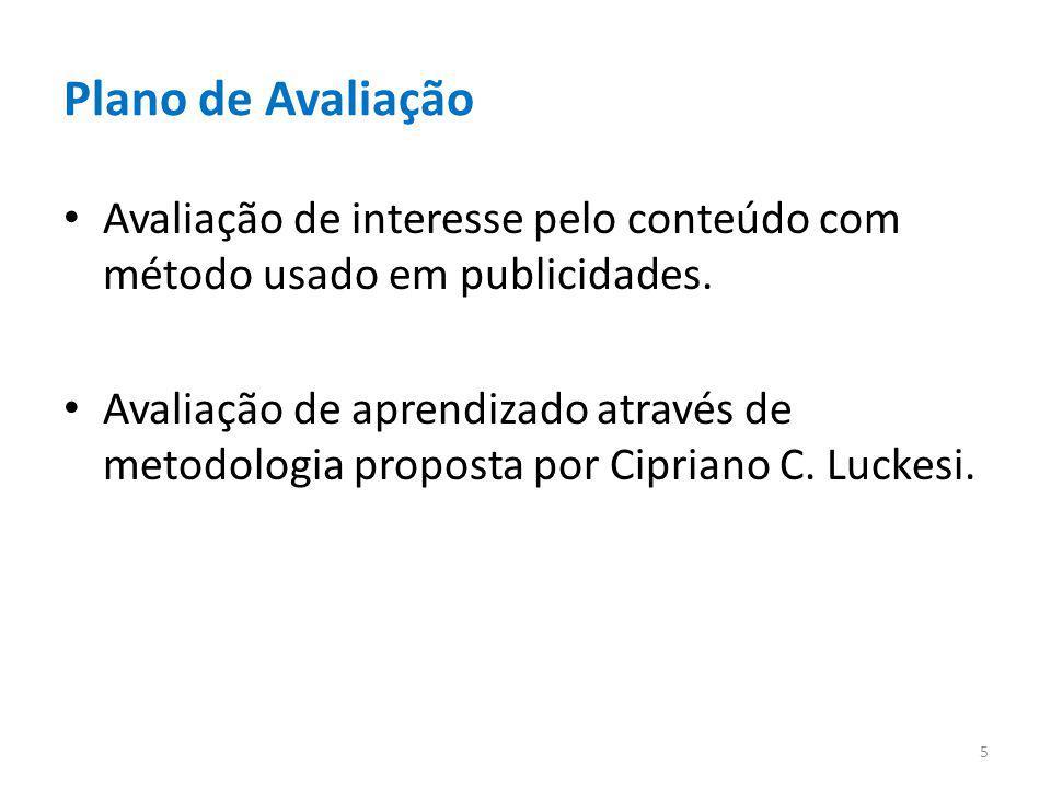 Plano de Avaliação Avaliação de interesse pelo conteúdo com método usado em publicidades. Avaliação de aprendizado através de metodologia proposta por