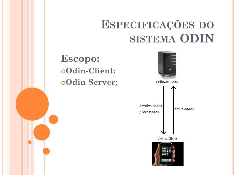 E SPECIFICAÇÕES DO SISTEMA ODIN Escopo: Odin-Client; Odin-Server;