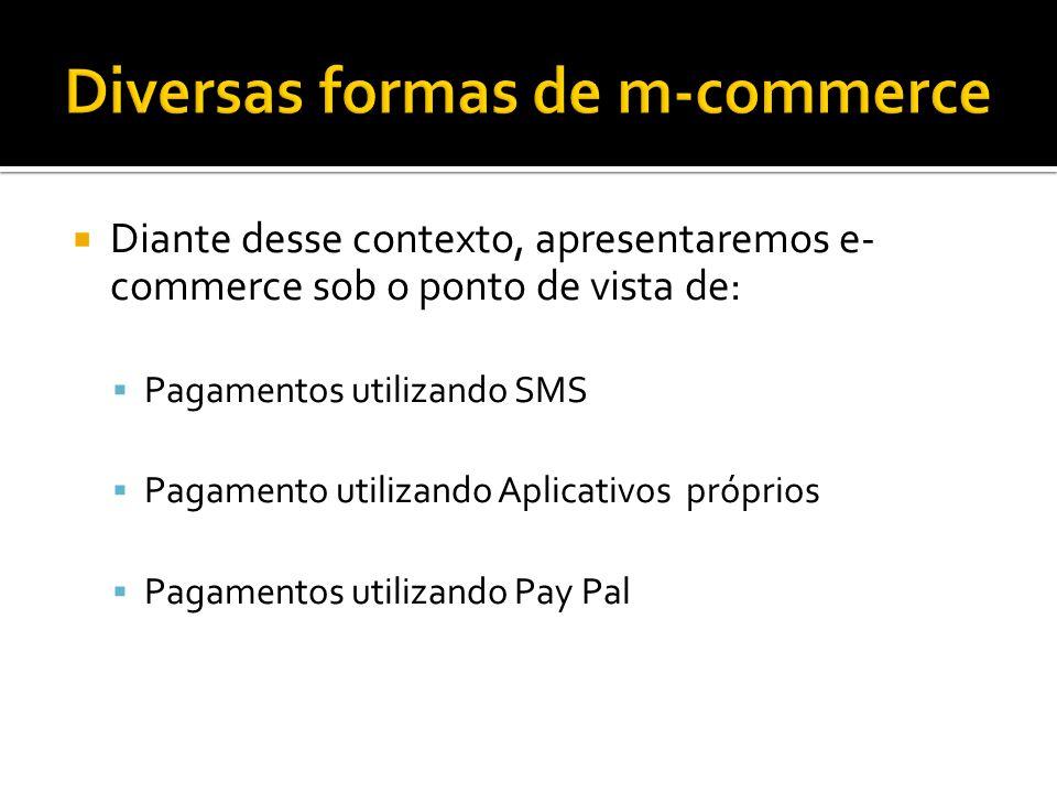 Diante desse contexto, apresentaremos e- commerce sob o ponto de vista de: Pagamentos utilizando SMS Pagamento utilizando Aplicativos próprios Pagamentos utilizando Pay Pal