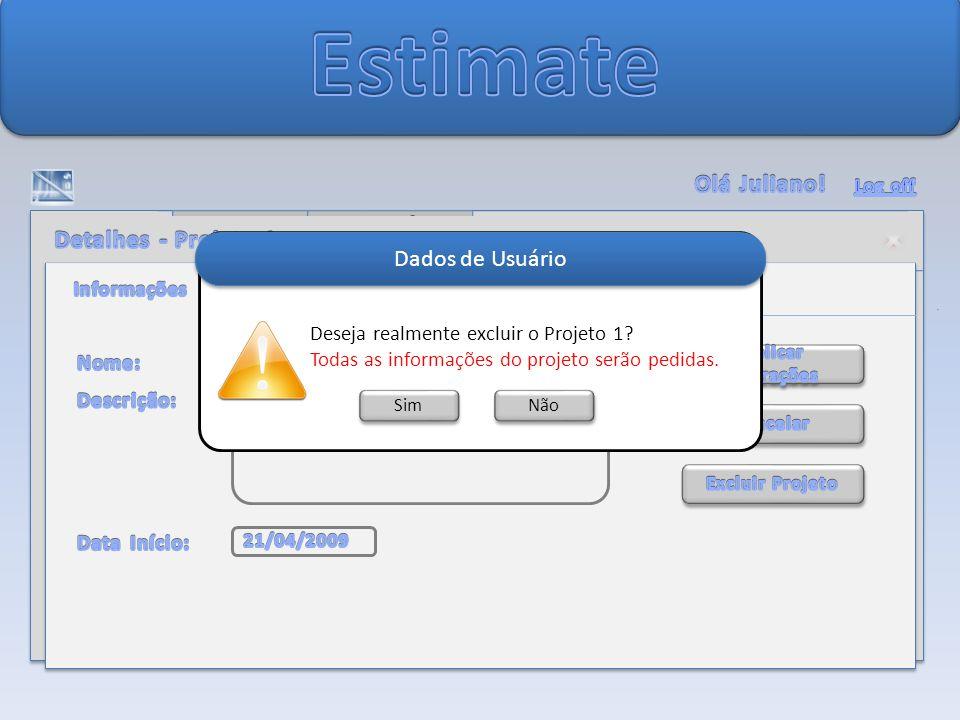 Dados de Usuário Sim Não Deseja realmente excluir o Projeto 1.