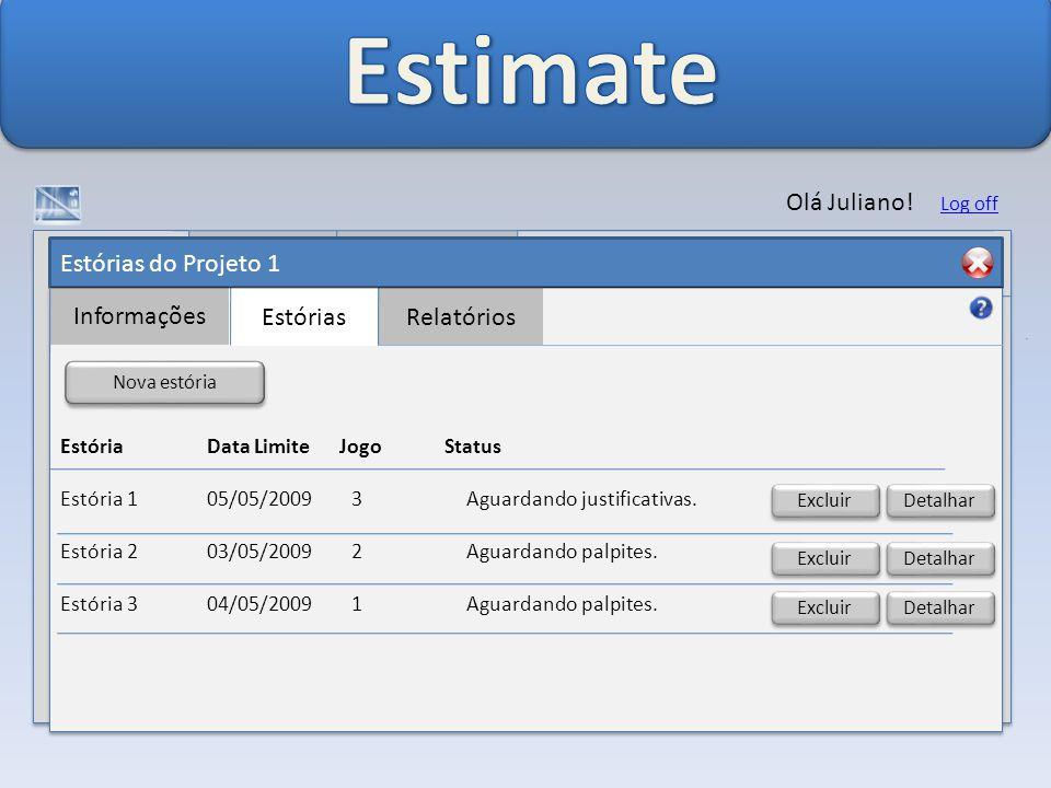 Estórias do Projeto 1 Informações EstóriasRelatórios Olá Juliano.