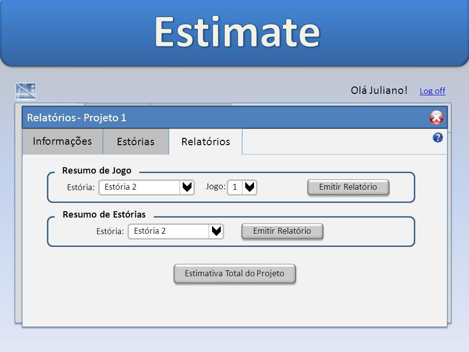 Relatórios - Projeto 1 Informações EstóriasRelatórios Olá Juliano.