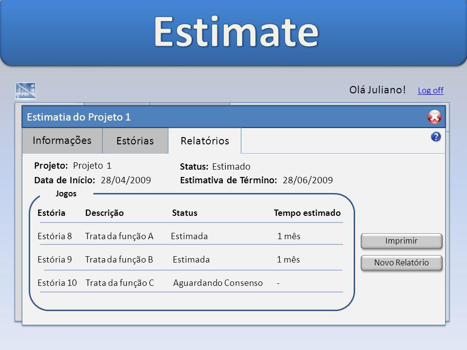 Estimatia do Projeto 1 Informações EstóriasRelatórios Olá Juliano.