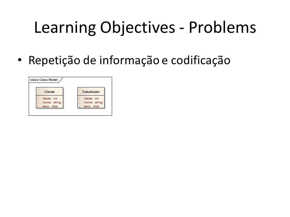 Learning Objectives - Problems Repetição de informação e codificação