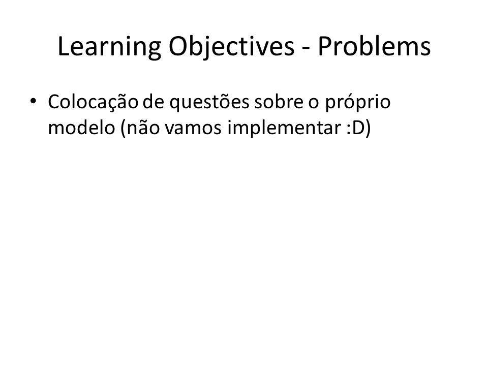 Learning Objectives - Problems Colocação de questões sobre o próprio modelo (não vamos implementar :D)