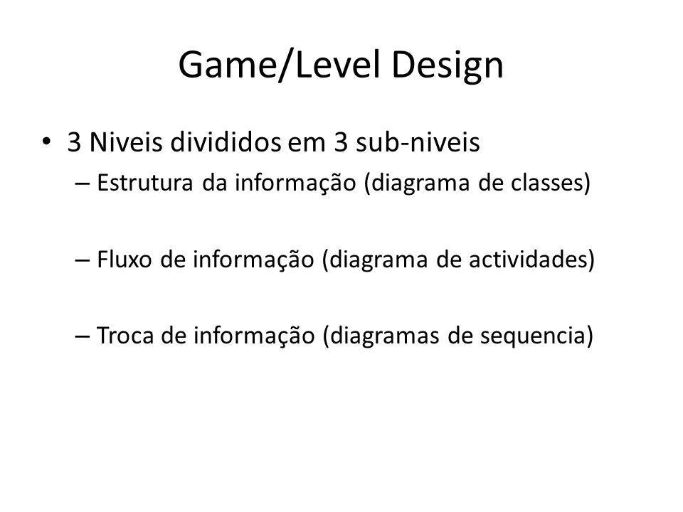 Game/Level Design 3 Niveis divididos em 3 sub-niveis – Estrutura da informação (diagrama de classes) – Fluxo de informação (diagrama de actividades) – Troca de informação (diagramas de sequencia)
