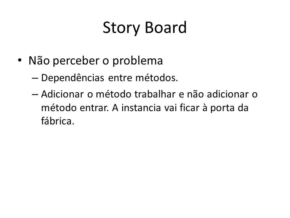 Story Board Não perceber o problema – Dependências entre métodos.