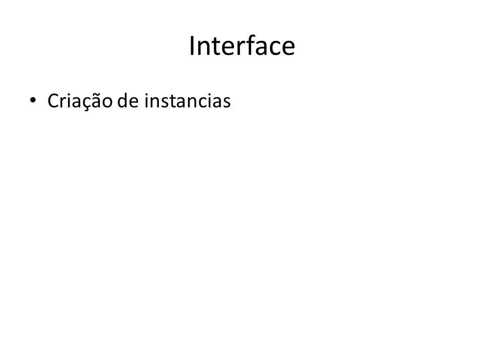 Interface Criação de instancias