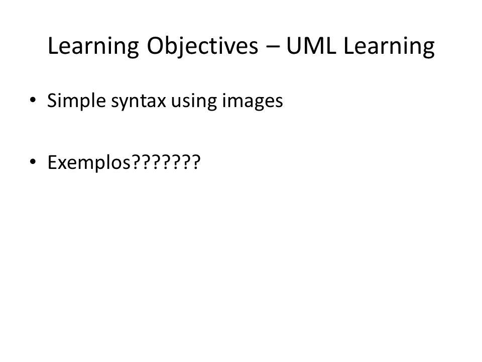 Learning Objectives – UML Learning Simple syntax using images Exemplos