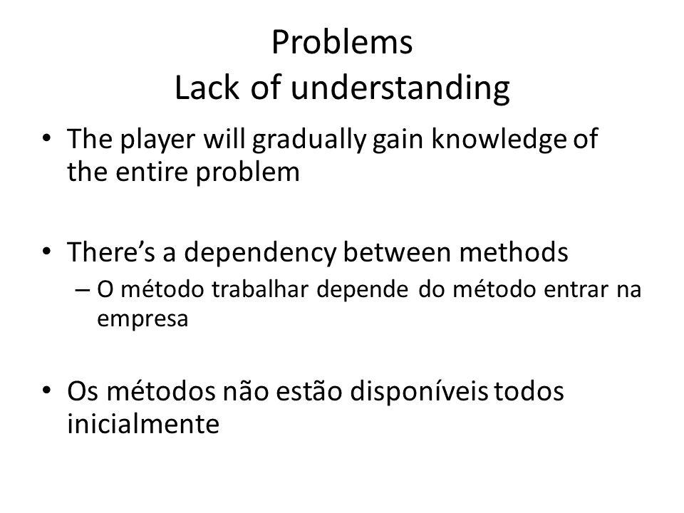 Problems Lack of understanding The player will gradually gain knowledge of the entire problem Theres a dependency between methods – O método trabalhar