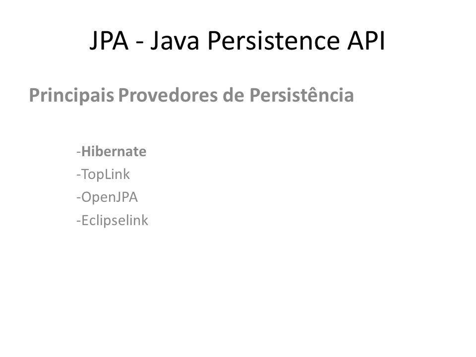 JPA - Java Persistence API - Hibernate -Framework pioneiro de persistência e mapeamento objeto/relacional.