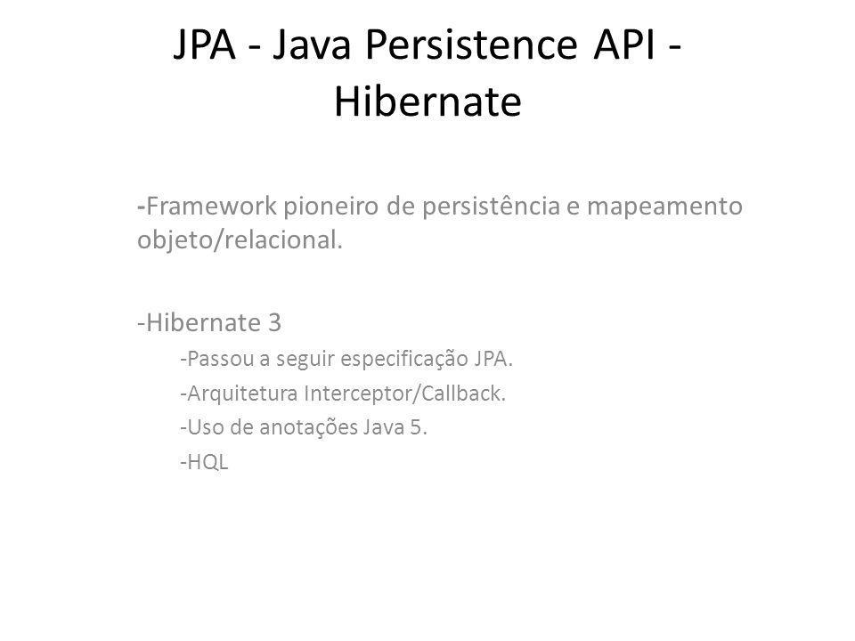 JPA - Java Persistence API - Hibernate -Framework pioneiro de persistência e mapeamento objeto/relacional. -Hibernate 3 -Passou a seguir especificação