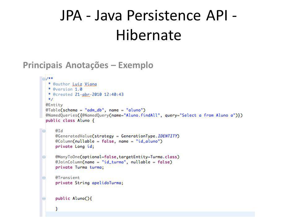 JPA - Java Persistence API - Hibernate EntityManager -Responsável pelo gerenciamento das entidades.