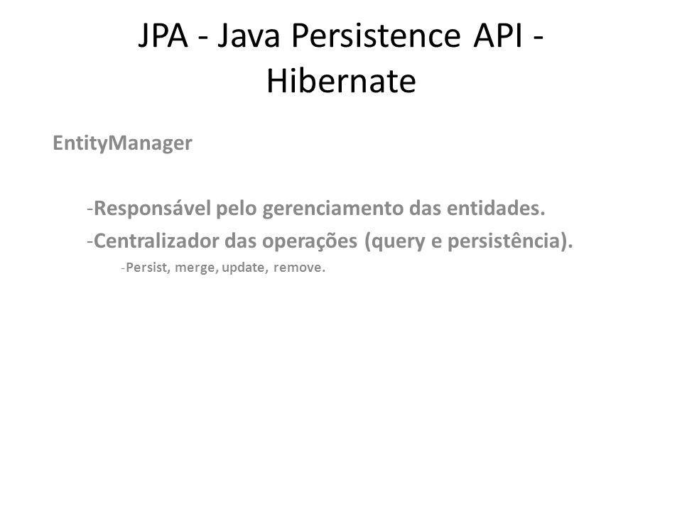 JPA - Java Persistence API - Hibernate EntityManager -Responsável pelo gerenciamento das entidades. -Centralizador das operações (query e persistência