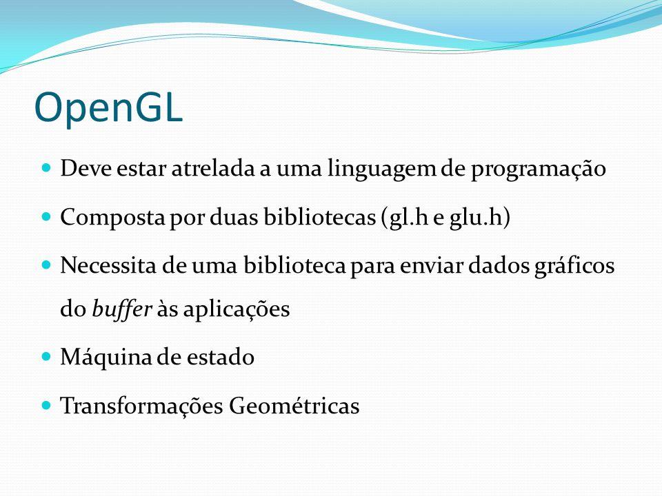 OpenGL Deve estar atrelada a uma linguagem de programação Composta por duas bibliotecas (gl.h e glu.h) Necessita de uma biblioteca para enviar dados g