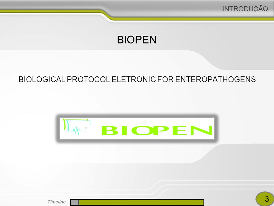 INTRODUÇÃO BIOLOGICAL PROTOCOL ELETRONIC FOR ENTEROPATHOGENS BIOPEN 3 Timeline