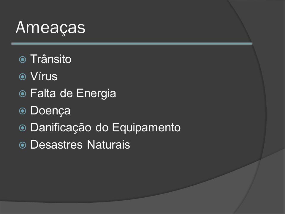 Ameaças Trânsito Vírus Falta de Energia Doença Danificação do Equipamento Desastres Naturais